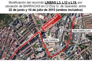 Modificación de las líneas de autobús con motivo de las Fiestas de San Pedro
