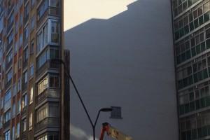 En Gamonal comienzan a realizar el mural XXL sobre Francisco Grandmontagne