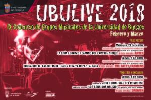 La final del IX Concurso de grupos musicales de la Universidad de Burgos se celebrará el 8 de marzo de 2018
