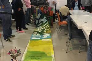 Usuarios del centro de día de salud mental de Aspanias realizan una intervención artística  para la exposición colectiva de arte al aire libre Expolón 2018