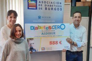 La Asociación de Diabéticos de Burgos ha entregado a Diabetes CERO la cantidad de 888€ para la financiación de proyectos de investigación para la cura de la Diabetes Tipo 1