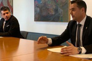 El alcalde de Burgos Daniel de la Rosa y el portavoz del Grupo Municipal de Ciudadanos Vicente Marañón presentan la Modificación Proyecto de Presupuestos 2020