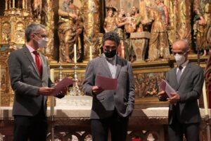 Firma del Convenio de colaboración entre el Arzobispado de Burgos Fundación Cajacírculo y Fundación Ibercaja