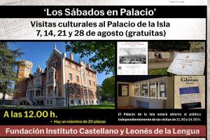 Los Sábados en Palacio ofrece una ruta literaria por la exposición de escritores al aire libre Galaxia Crítica y una visita guiada al Palacio de la Isla